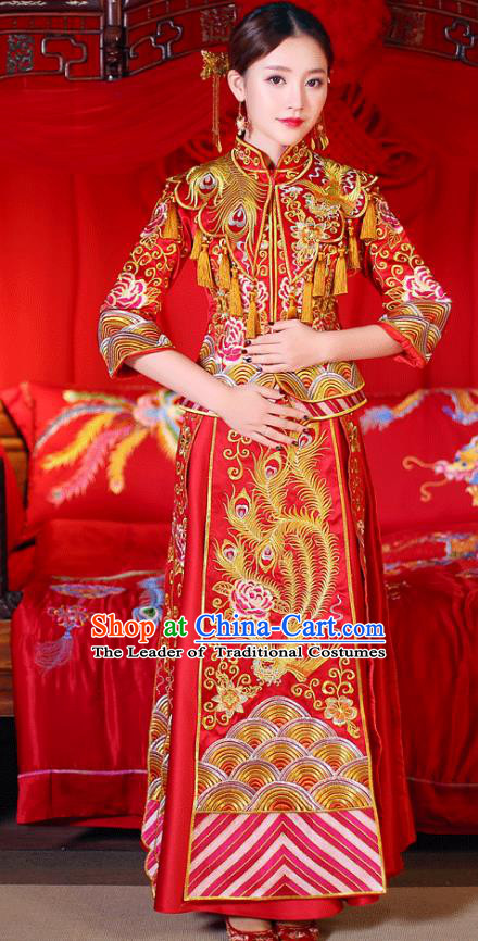 Chinese Ancient Wedding Costume Traditional Bride Dress, China Ancient Toast Clothing Delicate Embroidered Xiuhe Suits for Women