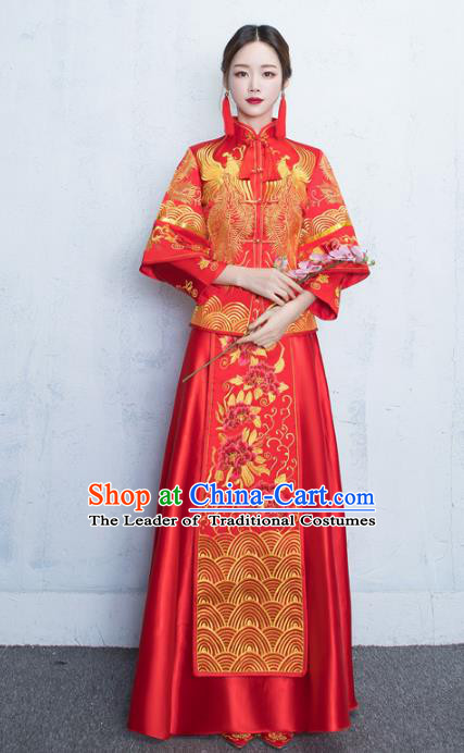 Chinese Traditional Embroidered Xiuhe Suits Bride Red Full Dress Ancient Embroidery Peony Bottom Drawer Wedding Costumes for Women