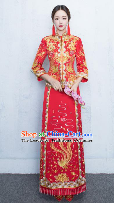 Chinese Traditional Embroidered Xiuhe Suits Bride Red Full Dress Ancient Embroidery Phoenix Bottom Drawer Wedding Costumes for Women