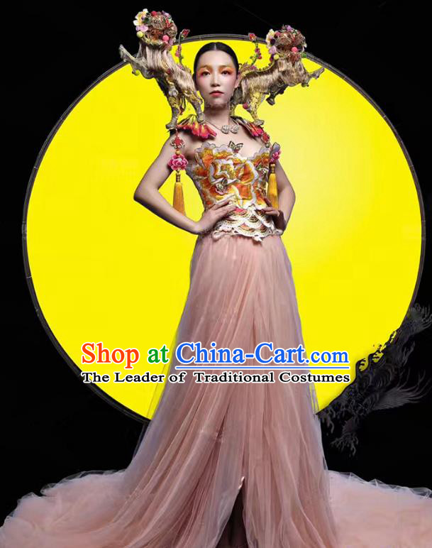 Top Grade Stage Performance Costumes Modern Fancywork Pink Veil Full Dress and Headdress for Women