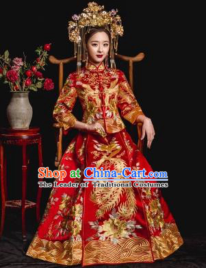 Chinese Ancient Wedding Costume Bride Toast Cheongsam, China Traditional Delicate Embroidered Xiuhe Suits for Women
