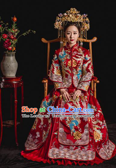 Chinese Ancient Wedding Costume Bride Toast Clothing, China Traditional Delicate Embroidered Xiuhe Suits for Women