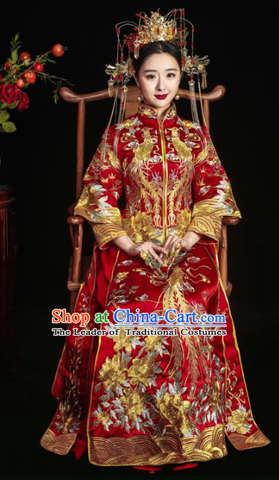 Chinese Traditional Red Xiuhe Suits Ancient Bride Embroidered Phoenix Bottom Drawer Wedding Costumes for Women