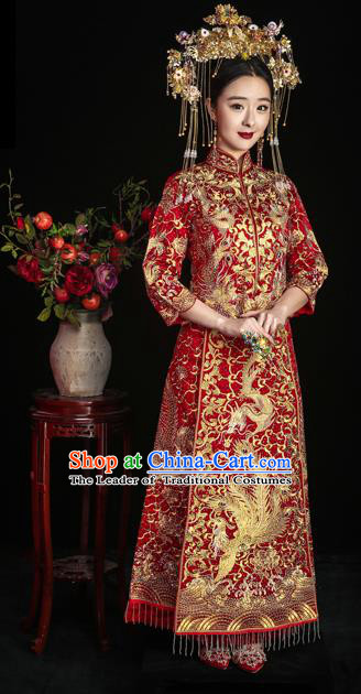 Chinese Ancient Wedding Costume Bride Embroidery Toast Clothing, Traditional Delicate Embroidered Red Xiuhe Suits for Women