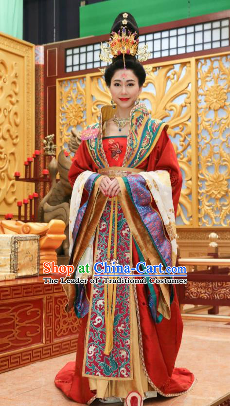 Chinese Ancient Palace Queen Hanfu Dress Tang Dynasty Empress Wang Zhen Embroidered Costumes and Headpiece Complete Set