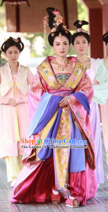 Chinese Ancient Princess Taiping Hanfu Dress Tang Dynasty Maidenform Embroidered Costumes and Headpiece for Women