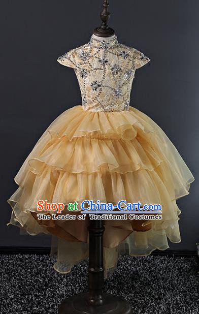 Top Grade Stage Performance Costumes Compere Yellow Bubble Dress Modern Fancywork Full Dress for Kids