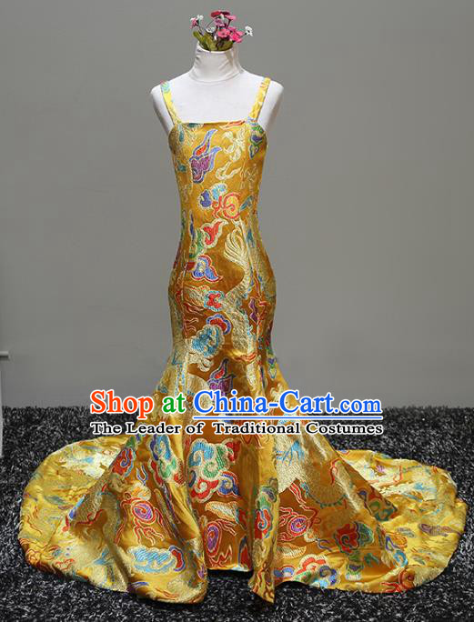 Top Grade Stage Performance Costumes Catwalks Yellow Brocade Dress Modern Fancywork Full Dress for Kids