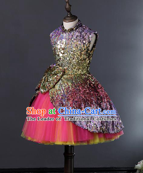 Top Grade Stage Performance Costumes Compere Purple Sequins Bubble Dress Modern Fancywork Full Dress for Kids