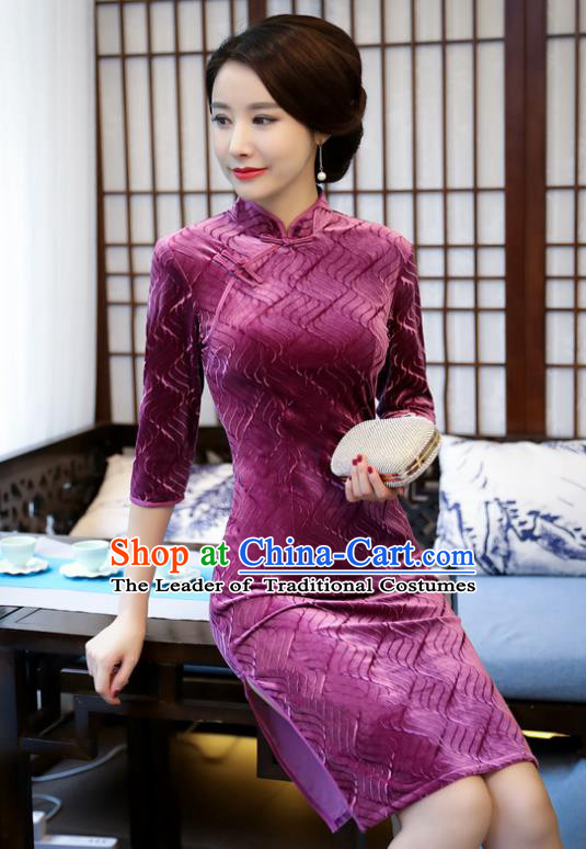 Top Grade Chinese Purple Velvet Qipao Dress National Costume Traditional Mandarin Cheongsam for Women