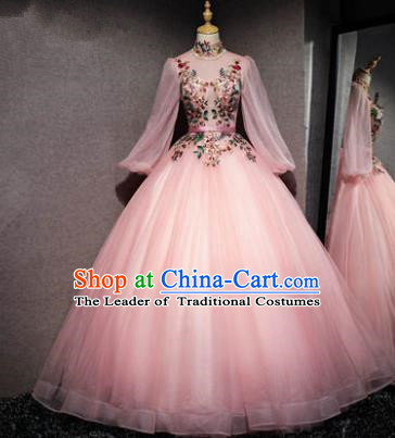 Top Grade Advanced Customization Pink Veil Bubble Dress Wedding Dress Compere Bridal Full Dress for Women
