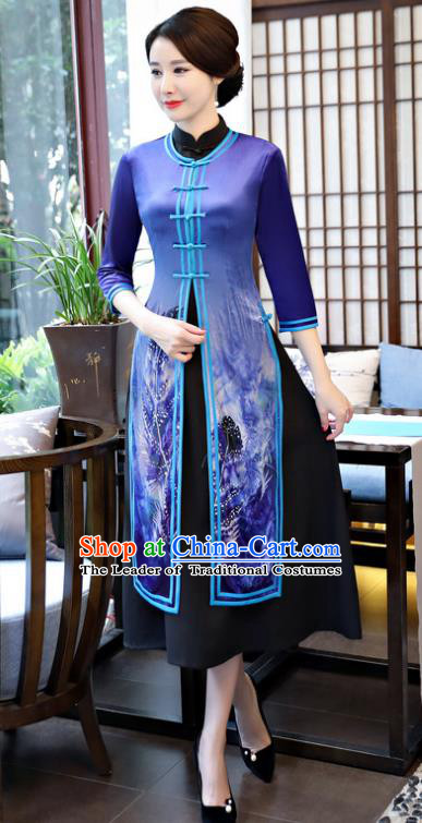 Top Grade Chinese Printing Blue Qipao Dress National Costume Traditional Mandarin Cheongsam for Women