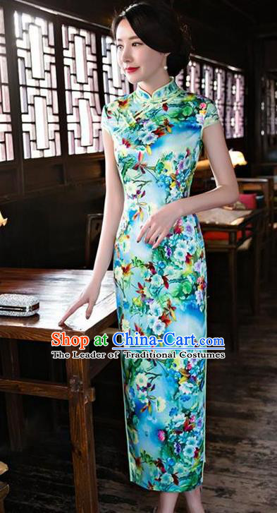 Top Grade Chinese Printing Flowers Green Silk Qipao Dress National Costume Traditional Mandarin Cheongsam for Women