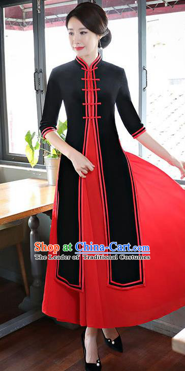 Top Grade Chinese Black Two-pieces Qipao Dress National Costume Traditional Mandarin Cheongsam for Women