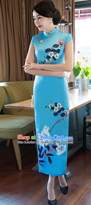 Top Grade Chinese Printing Petunia Blue Silk Qipao Dress National Costume Traditional Mandarin Cheongsam for Women