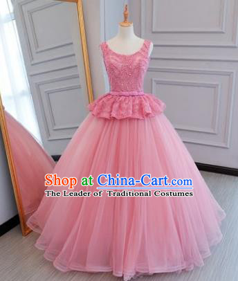 Top Grade Wedding Costume Compere Evening Dress Pink Veil Bubble Dress Bridal Full Dress for Women