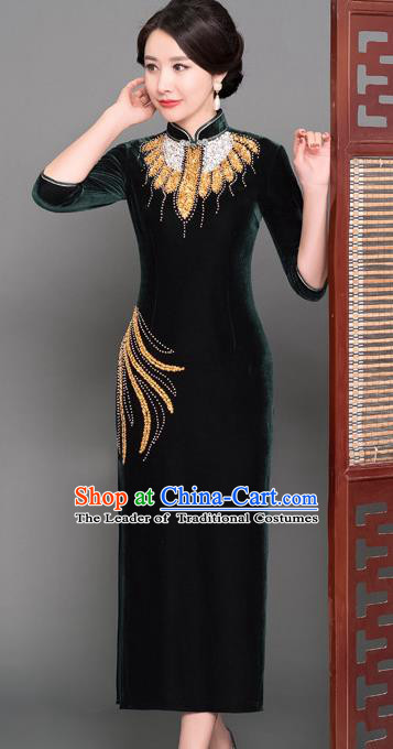 Top Grade Chinese Atrovirens Velvet Beading Qipao Dress National Costume Traditional Mandarin Cheongsam for Women