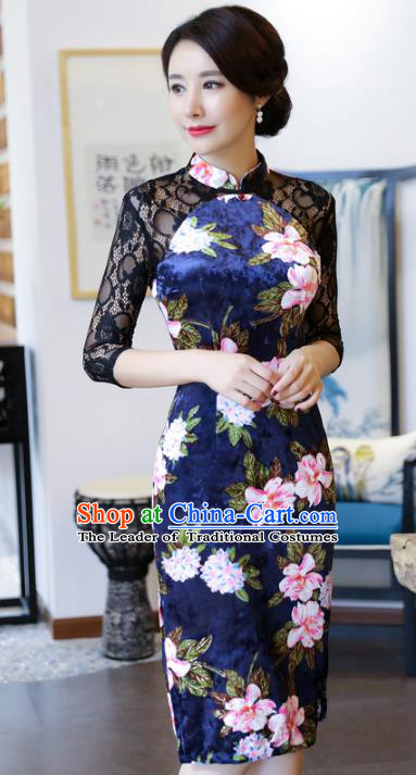 Top Grade Chinese Printing Flowers Blue Qipao Dress National Costume Traditional Mandarin Cheongsam for Women