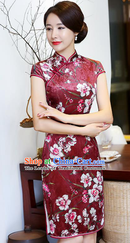 Top Grade Chinese Printing Flowers Red Qipao Dress National Costume Traditional Mandarin Cheongsam for Women