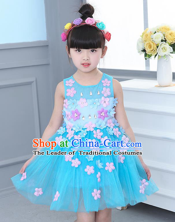 Top Grade Chorus Stage Performance Costumes Flower Fairy Blue Veil Bubble Dress Children Modern Dance Clothing for Kids