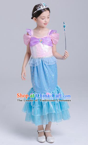 Top Grade Halloween Costumes Stage Performance Princess Mermaid Full Dress Children Modern Dance Clothing for Kids
