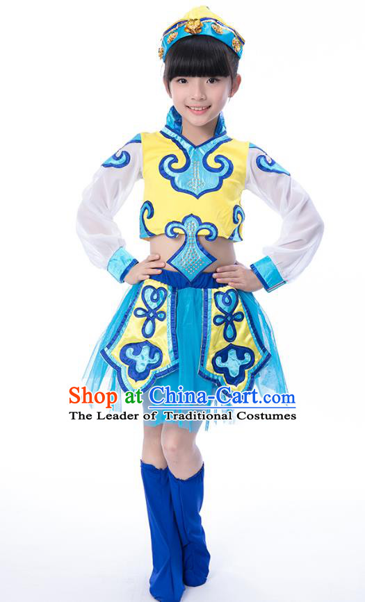 Chinese Traditional Mongol Nationality Costumes Children Mongolian Minority Dance Classical Dance Clothing for Kids