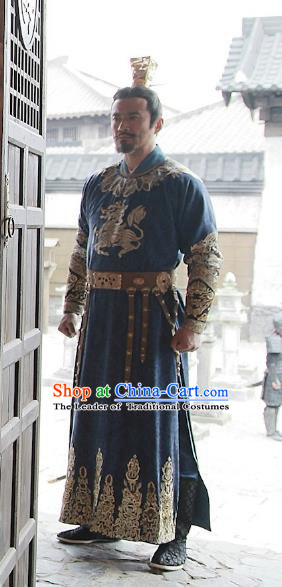 Chinese Teleplay Tribes and Empires:Storm of Prophecy Ancient Emperor Embroidered Costumes for Men