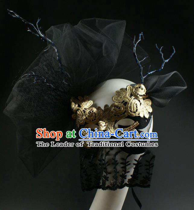 Halloween Exaggerated Black Lace Veil Face Mask Fancy Ball Props Stage Performance Accessories Christmas Mysterious Masks