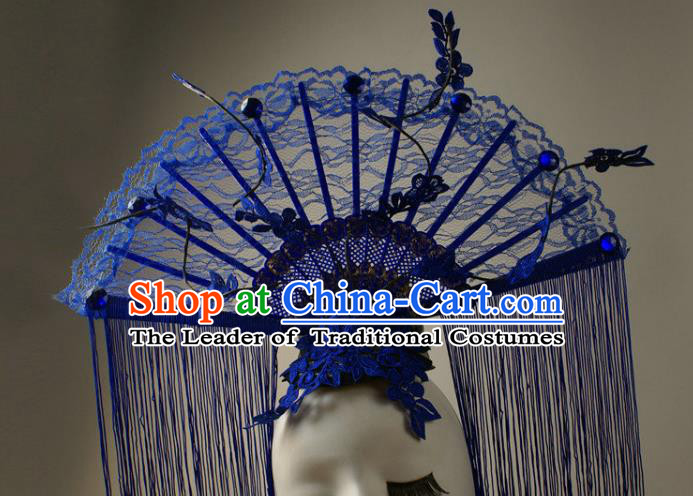 Top Grade Catwalks Queen Blue Lace Hair Accessories China Style Stage Performance Modern Fancywork Headwear