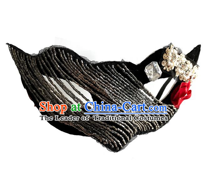 Halloween Catwalks Venice Face Mask Fancy Ball Crystal Beads Masks Christmas Exaggerated Feather Masks