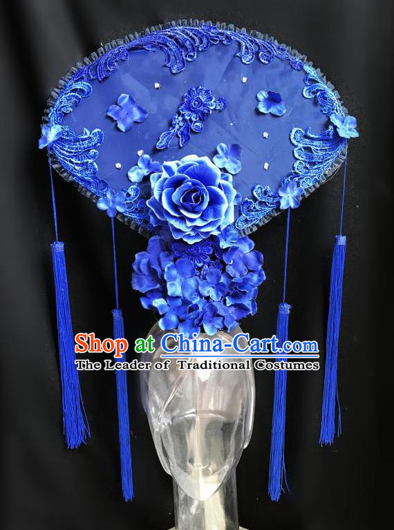 Top Grade Chinese Traditional Catwalks Hair Accessories Exaggerated Palace Blue Peony Fan-Shape Headdress Halloween Modern Fancywork Headwear