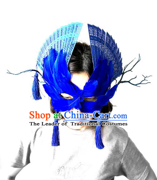 Halloween Venice Exaggerated Blue Feather Face Mask Fancy Ball Props Catwalks Accessories Christmas Masks