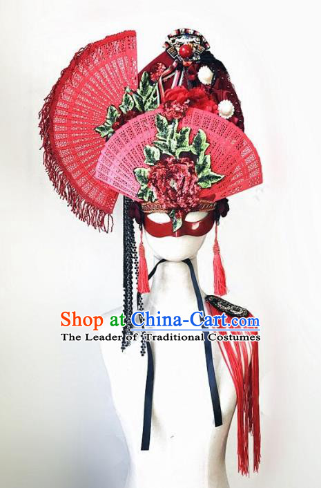 Top Grade Chinese Traditional Catwalks Hair Accessories Exaggerated Halloween Modern Fancywork Wedding Headwear
