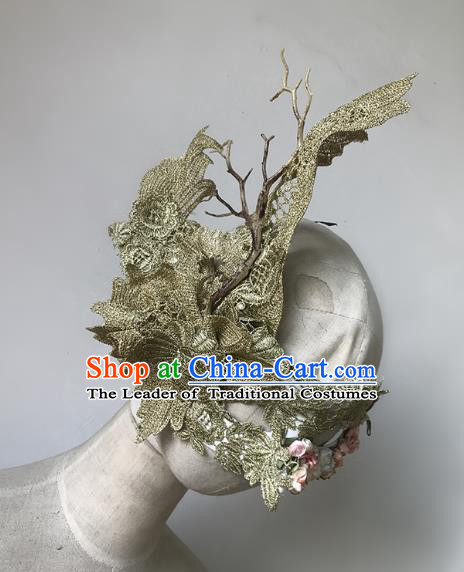 Halloween Catwalks Venice Golden Face Mask Fancy Ball Props Accessories Christmas Exaggerated Masks