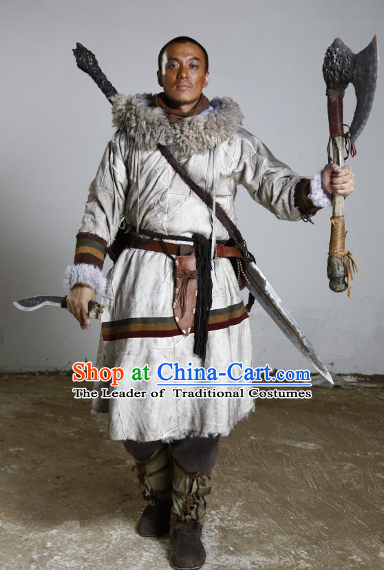 Teleplay Tribes and Empires Storm of Prophecy Chinese Ancient Grassland Warrior King Costume for Men