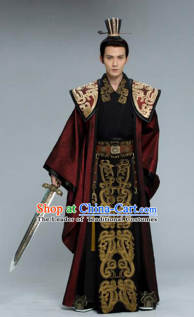 Chinese Ancient Southern and Northern Dynasties Prime Minister Yuwen Hu Embroidered Historical Costume for Men
