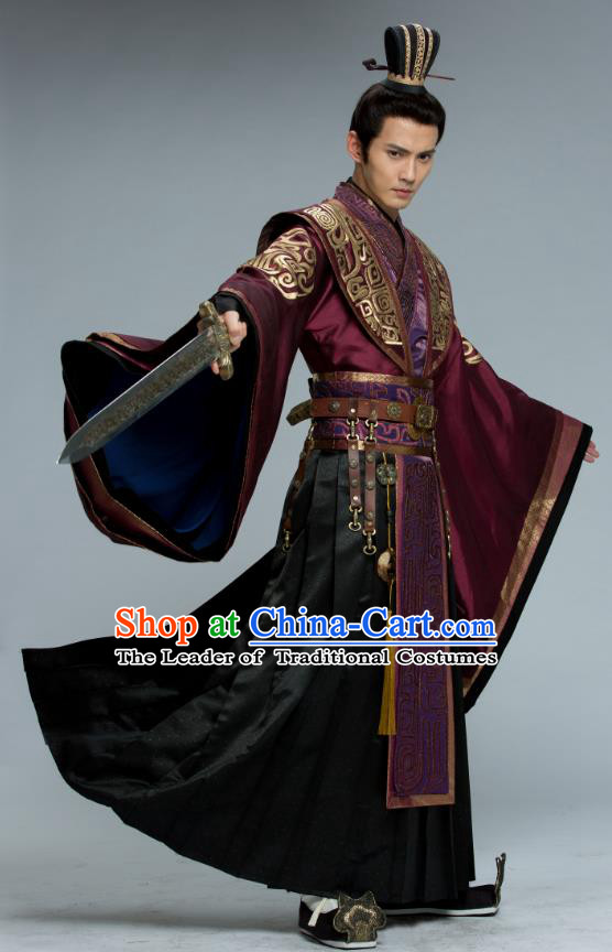 Chinese Ancient Southern and Northern Dynasties Swordsman Prime Minister Yuwen Hu Embroidered Historical Costume for Men