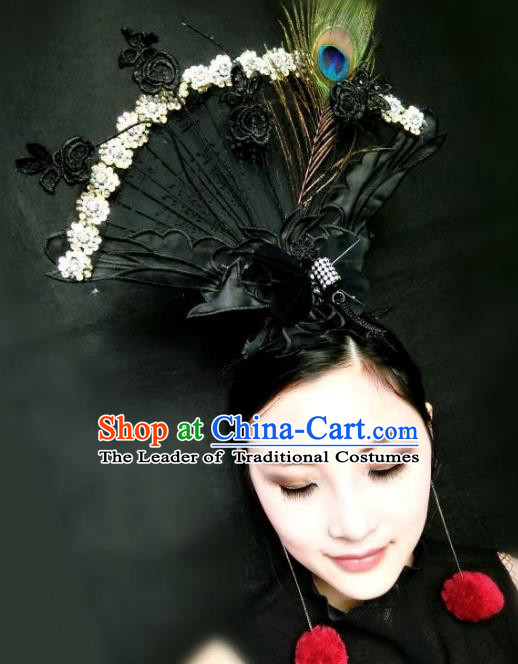 Top Grade China Catwalks Hair Accessories Exaggerated Black Hair Clasp Modern Fancywork Headwear