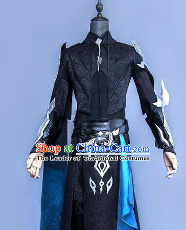 China Ancient Cosplay Swordsman Black Costumes Complete Set Chinese Traditional Knight-errant Clothing for Men