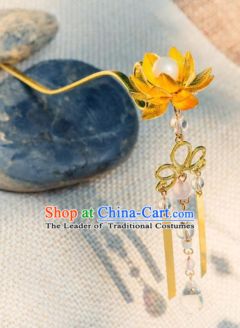 China Ancient Hair Accessories Hanfu Tassel Golden Lotus Hair Clip Chinese Classical Hairpins for Women