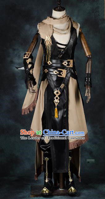 China Ancient Cosplay Female Swordsman Leather Costumes Chinese Traditional Warriors Knight-errant Clothing for Women