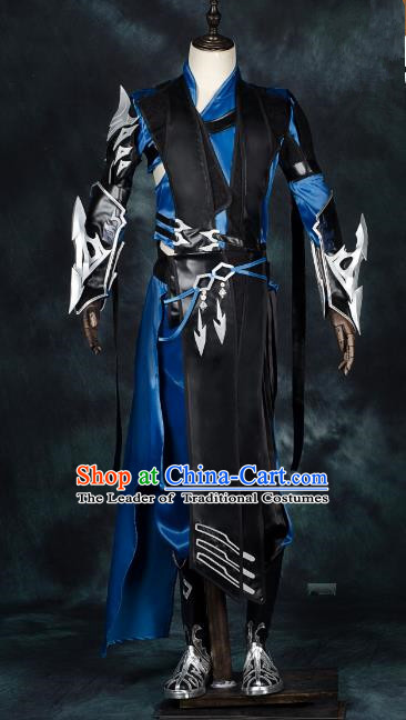 Traditional China Ancient Cosplay General Swordsman Costumes Complete Set Chinese Knight-errant Clothing for Men