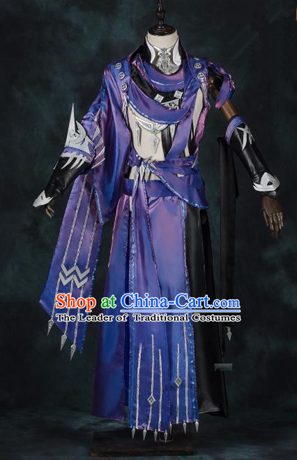 China Traditional Cosplay Swordsman Purple Costumes Chinese Ancient Kawaler Knight-errant Clothing for Men