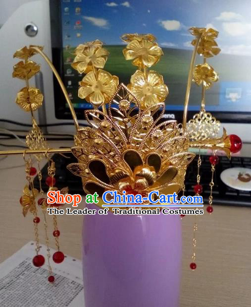 China Ancient Wedding Hair Accessories Chinese Traditional Xiuhe Suit Tassel Phoenix Coronet Hairpins for Women