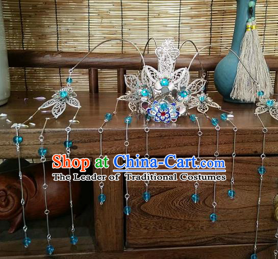China Ancient Hair Accessories Hanfu Blue Beads Tassel Phoenix Coronet Chinese Traditional Hairpins for Women