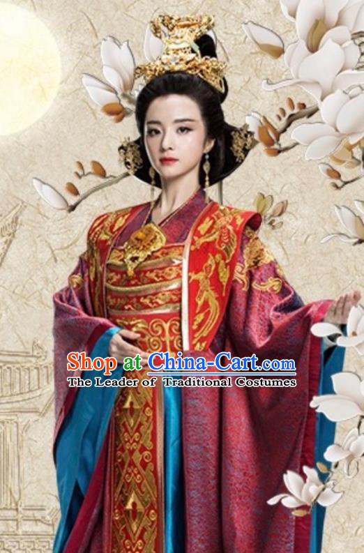 Chinese Ancient Queen Mother Hanfu Dress Northern Zhou Dynasty Empress Dowager Historical Costume and Headpiece Complete Set