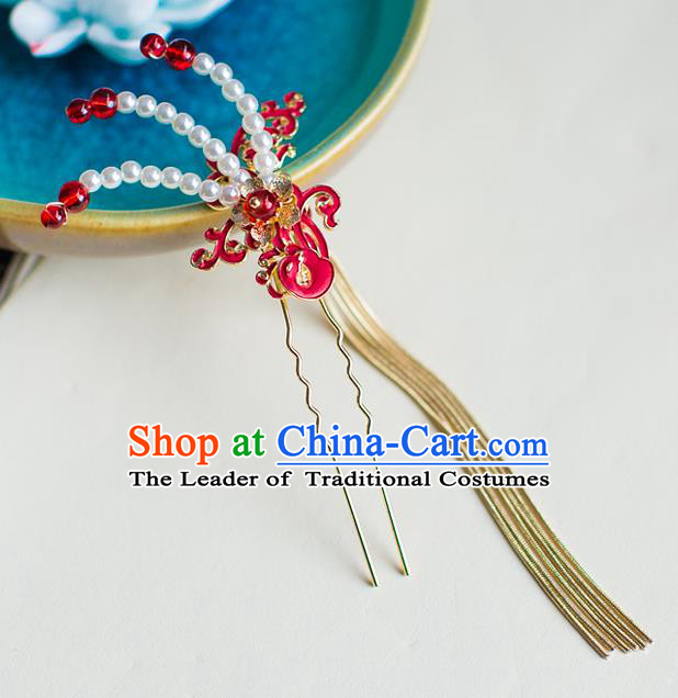 Chinese Traditional Palace Hair Accessories Xiuhe Suit Tassel Step Shake Ancient Hairpins for Women