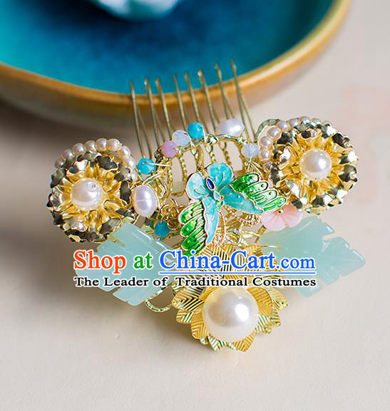 Chinese Traditional Palace Hair Accessories Xiuhe Suit Jade Hair Comb Ancient Hairpins for Women