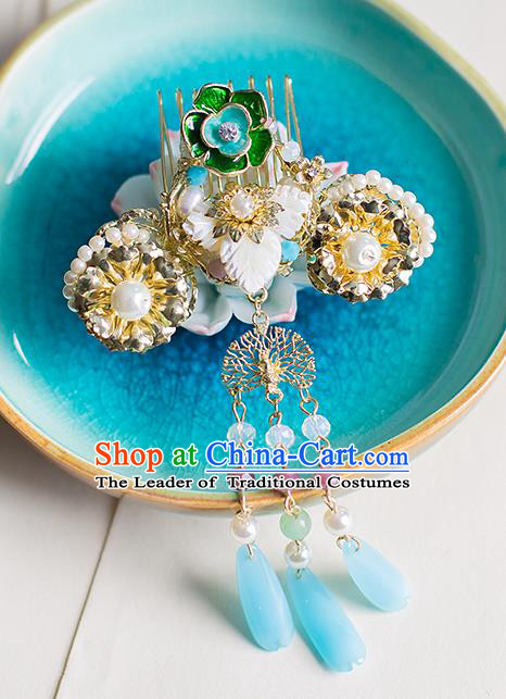 Chinese Traditional Palace Hair Accessories Xiuhe Suit Jade Tassel Hair Comb Ancient Hairpins for Women