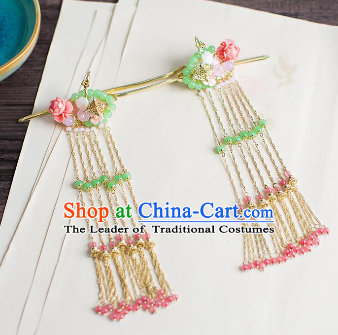 Chinese Traditional Palace Hair Accessories Xiuhe Suit Pink Beads Tassel Hair Clips Ancient Hairpins for Women